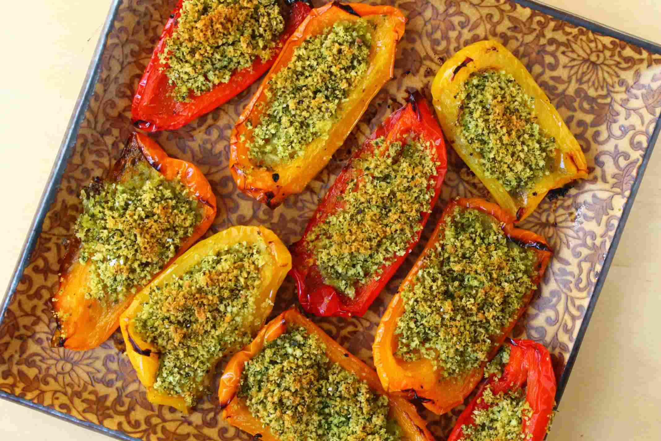 Oven Roasted Peppers With Herbed Breadcrumbs Recipe — Dishmaps