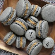 black sesame macarons with nut butter filling recipe