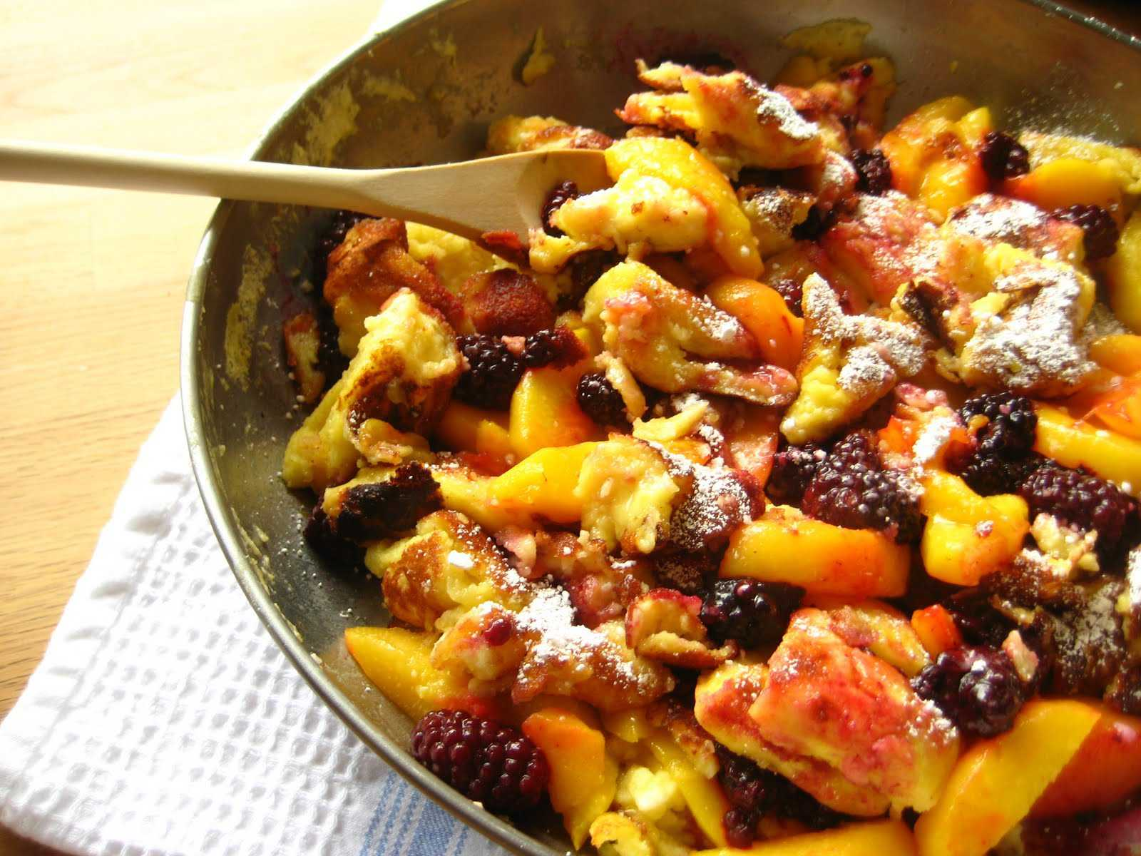 kaiserschmarrn with peaches and blackberries   story of a kitchen ...
