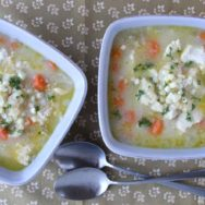 chicken corn rivel soup with browned butter