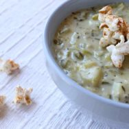 clam chowder with old bay seasoned popcorn