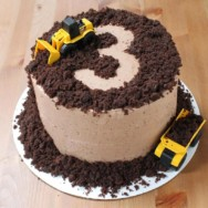 a construction-themed birthday menu: mango and chocolate swiss buttercream recipes