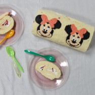 minnie mouse cake roll — for a three-year-old's birthday