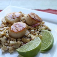 scallops with mexican corn salad (elote) recipe