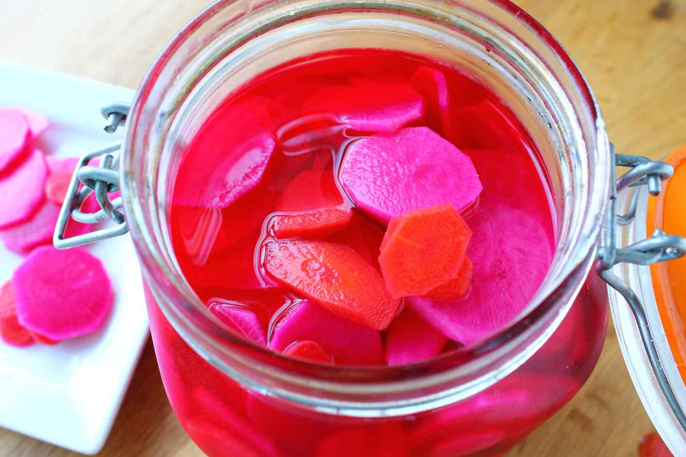 vietnamese pickled daikon and carrotsand a beet! (do chua